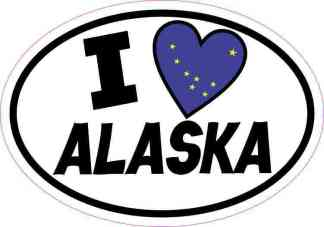 Oval I Love Alaska Sticker