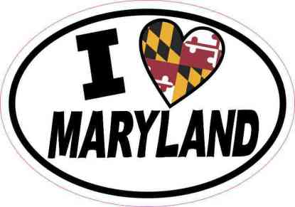 Oval I Love Maryland Sticker
