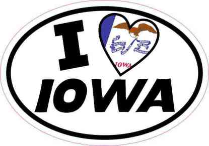 Oval I Love Iowa Sticker