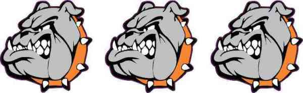 Orange Collared Bulldog Mascot Stickers