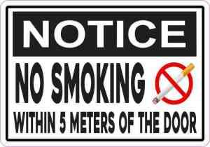 Notice No Smoking Within 5 Meters of the Door Sticker