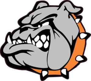 Orange Collared Bulldog Mascot Sticker