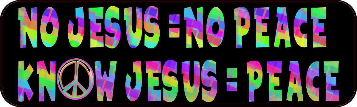 Colorful No Jesus No Peace Bumper Sticker