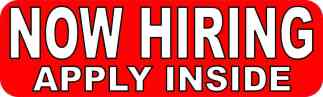 Now Hiring Apply Inside Sticker