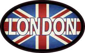 Oval UK Flag London Sticker