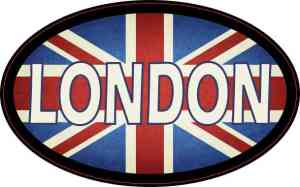 Oval UK Flag London Sticker