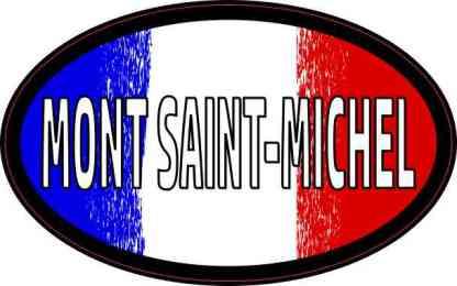 Oval French Flag Mont Saint-Michel Sticker