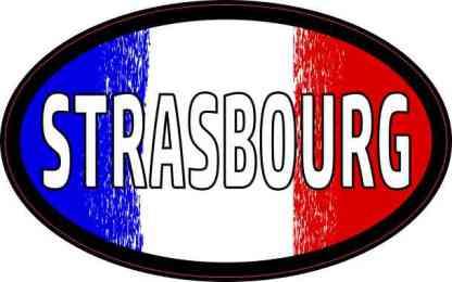 Oval French Flag Strasbourg Sticker