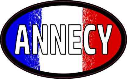 Oval French Flag Annecy Sticker