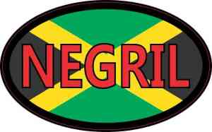 Oval Jamaican Flag Negril Sticker