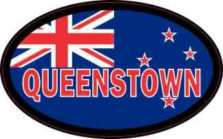 Oval New Zealand Flag Queenstown Sticker