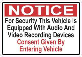 Notice Vehicle Is Equipped With Audio And Video Recording Devices Magnet