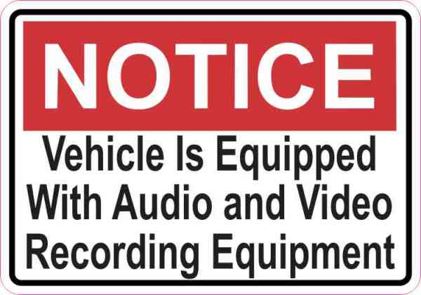 Double Sided Notice Audio and Video Recording Sticker