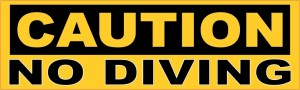 Caution No Diving Sticker