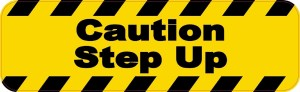 Caution Step Up Magnet