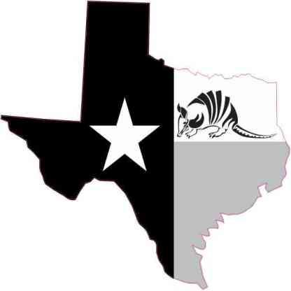 Black and White Armadillo Texas Sticker