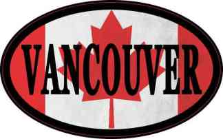 Oval Canadian Flag Vancouver Sticker