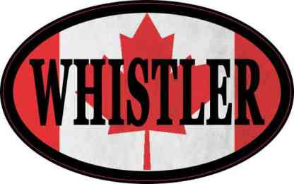 Oval Canadian Flag Whistler Sticker