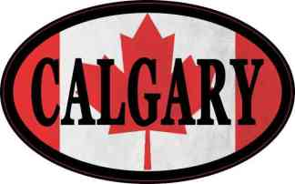 Oval Canadian Flag Calgary Sticker