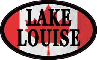 Oval Canadian Flag Lake Louise Sticker