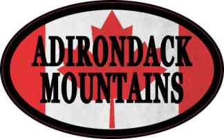 Oval Canadian Flag Adirondack Mountains Sticker