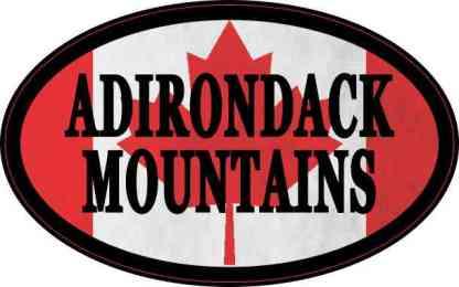 Oval Canadian Flag Adirondack Mountains Sticker