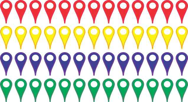 Basic Colors Map Pointer Stickers