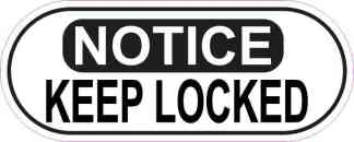 Oblong Notice Keep Locked Sticker