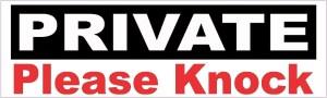 Private Please Knock Sticker