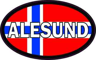 Oval Norwegian Flag Alesund Sticker