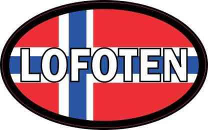 Oval Norwegian Flag Lofoten Sticker