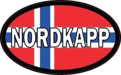 Oval Norwegian Flag Nordkapp Sticker