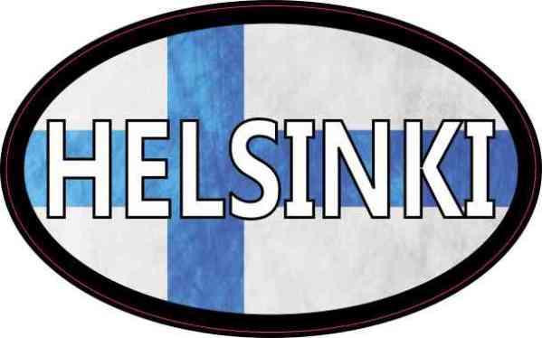 Oval Finnish Flag Helsinki Sticker