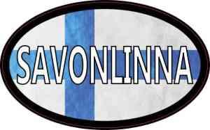 Oval Finnish Flag Savonlinna Sticker