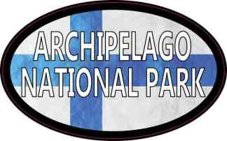 Oval Finnish Flag Archipelago National Park Sticker