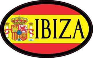 Oval Spanish Flag Ibiza Sticker