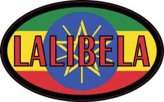 Oval Ethiopian Flag Lalibela Sticker