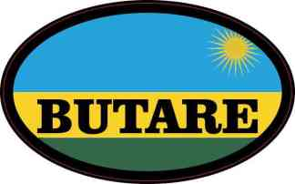 Oval Rwandan Flag Butare Sticker