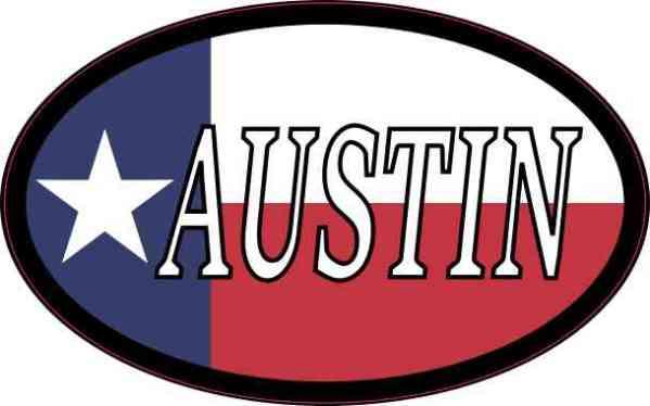 Oval Texan Flag Austin Sticker