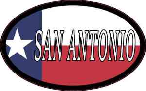 Oval Texan Flag San Antonio Sticker