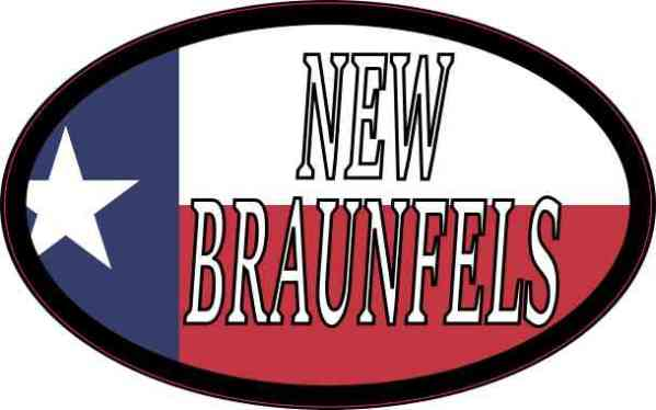 Oval Texan Flag New Braunfels Sticker