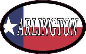Oval Texan Flag Arlington Sticker