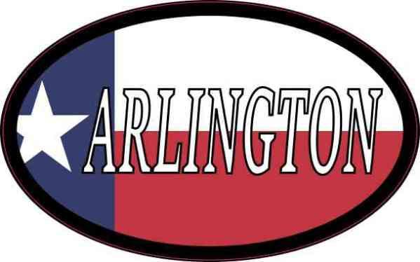 Oval Texan Flag Arlington Sticker