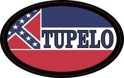 Oval Mississippi Flag Tupelo Sticker