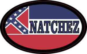 Oval Mississippi Flag Natchez Sticker