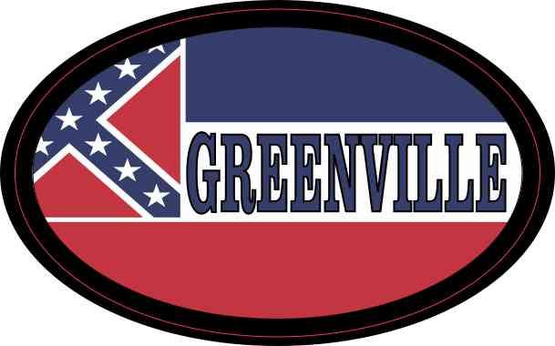 Oval Mississippi Flag Greenville Sticker
