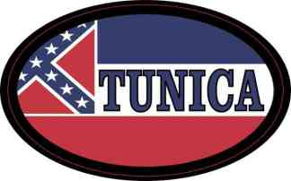 Oval Mississippi Flag Tunica Sticker