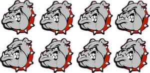 Red Collared Bulldog Stickers