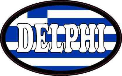Oval Greek Flag Delphi Sticker