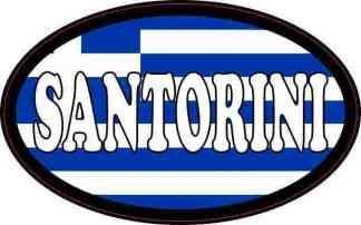 Oval Greek Flag Santorini Sticker